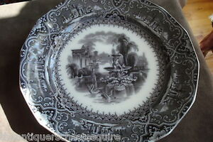 Antique-Adams-amp-Sons-blackware-plate-034-Athens-034-pattern-9-1-2-034-diam-2esq
