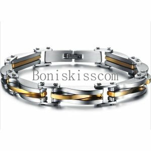 Two-Tone-Stainless-Steel-Men-039-s-Chain-Link-Bracelet-Wristband-Cuff-Bangle-8-66-034