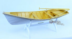 Rowing Boat 24 Clinker Hull Handmade Wooden Row Boat Model New Ebay
