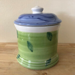 Caleca-Sorrento-Lidded-Canister-Green-amp-Blue-Floral-New-HTF-Made-in-Italy
