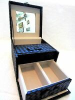Jaclyn Smith Travel Jewelry Box Black Weave Pvc With Lock