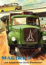 Magirus Deutz LKW Nutzfahrzeug Pritschenwagen Pickup Poster Plakat Bild Schild