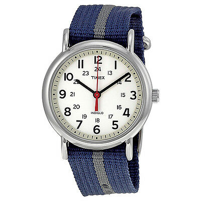 Timex Weekender White Dial Blue Nylon with Gray Stripe Unisex Watch T2N654