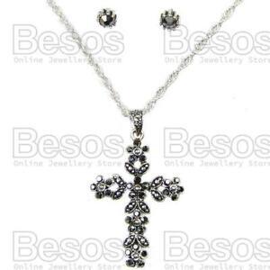 MARCASITE-CROSS-PENDANT-EARRINGS-SET-antique-silver-pl-VINTAGE-STYLE-crystal-UK