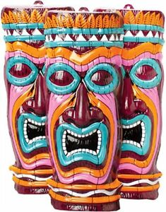 tropical hawaiian tiki mask decoration 1 piece 20 height