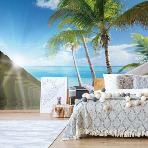 Papier Peint Nappes Papier peint Nature Paysage Plage Tropical Mer Palmiers Ciel