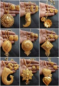 22K-Gold-plated-Indian-Variation-Pendant-Earrings-Necklace-Party-Flower-Set
