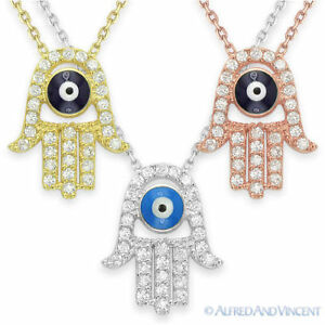 Evil-Eye-Turkish-Charm-Pendant-Kabbalah-Hamsa-Hand-of-Fatima-God-Silver-Necklace
