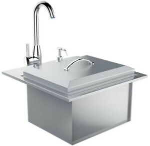 Details about Outdoor Kitchen Drop In Sink Hot Cold Water Faucet Cutting  Board Stainless Steel
