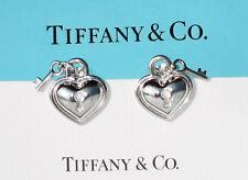 STUNNING Tiffany & Co y Sterling Silver Heart Padlock & Key Earrings