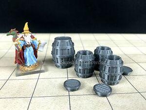 4 whiskey barrels 3d printed tavern series unpainted 28mm dungeon