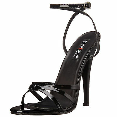 DEVIOUS High Heel Patent Strappy Stiletto Ankle Wrap Sandal DOMINA-108 Black