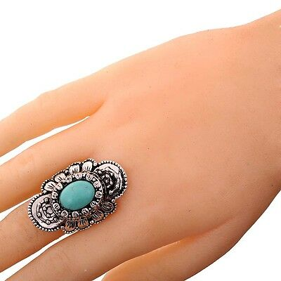 Tibetan Silver Women punk Jewelry Oval Turquoise Carved flower Adjustable Ring