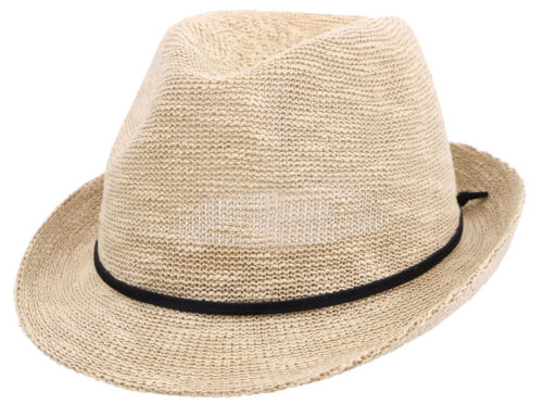 Summer Beach Straw Fedora Hat Women Men Foldable Short Brim Sun Trilby Cap