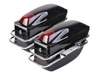 2 Pcs Motorcycle Cruiser Hard Trunk Saddlebags Luggage W/ Lights Mounted Black