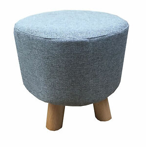 Terrific Details About Grey Luxury Wooden Footstool Round Pouffe Ottoman Stool Wooden 4 Legs Padded Pdpeps Interior Chair Design Pdpepsorg