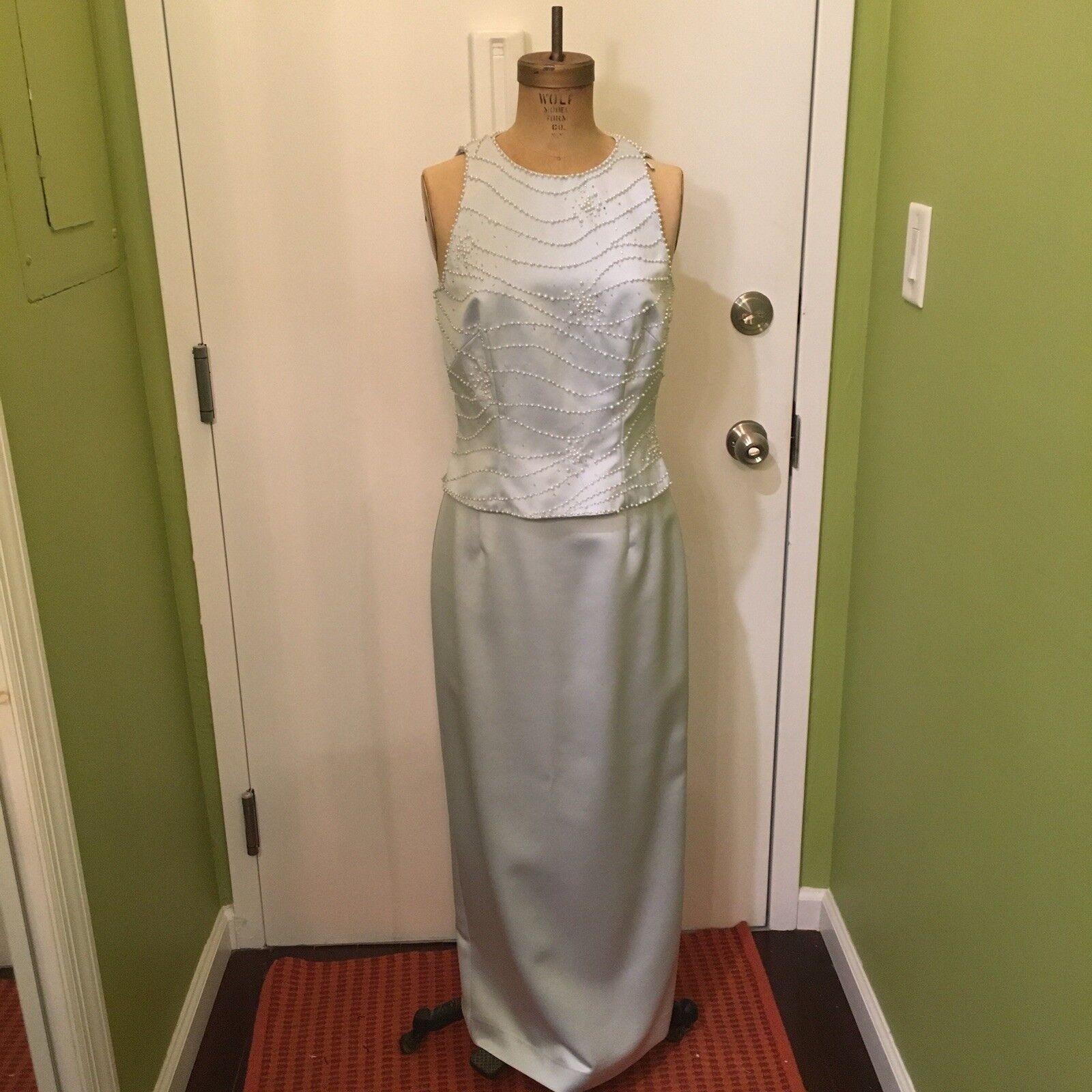 Vintage Zola Evening Formal Wedding Sleeveless Top Skirt Set Dress Gown Size 8
