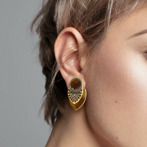 PAIR Tribal Filigree Gold Plated Copper Tunnel Ear Spreaders Plugs Gauges