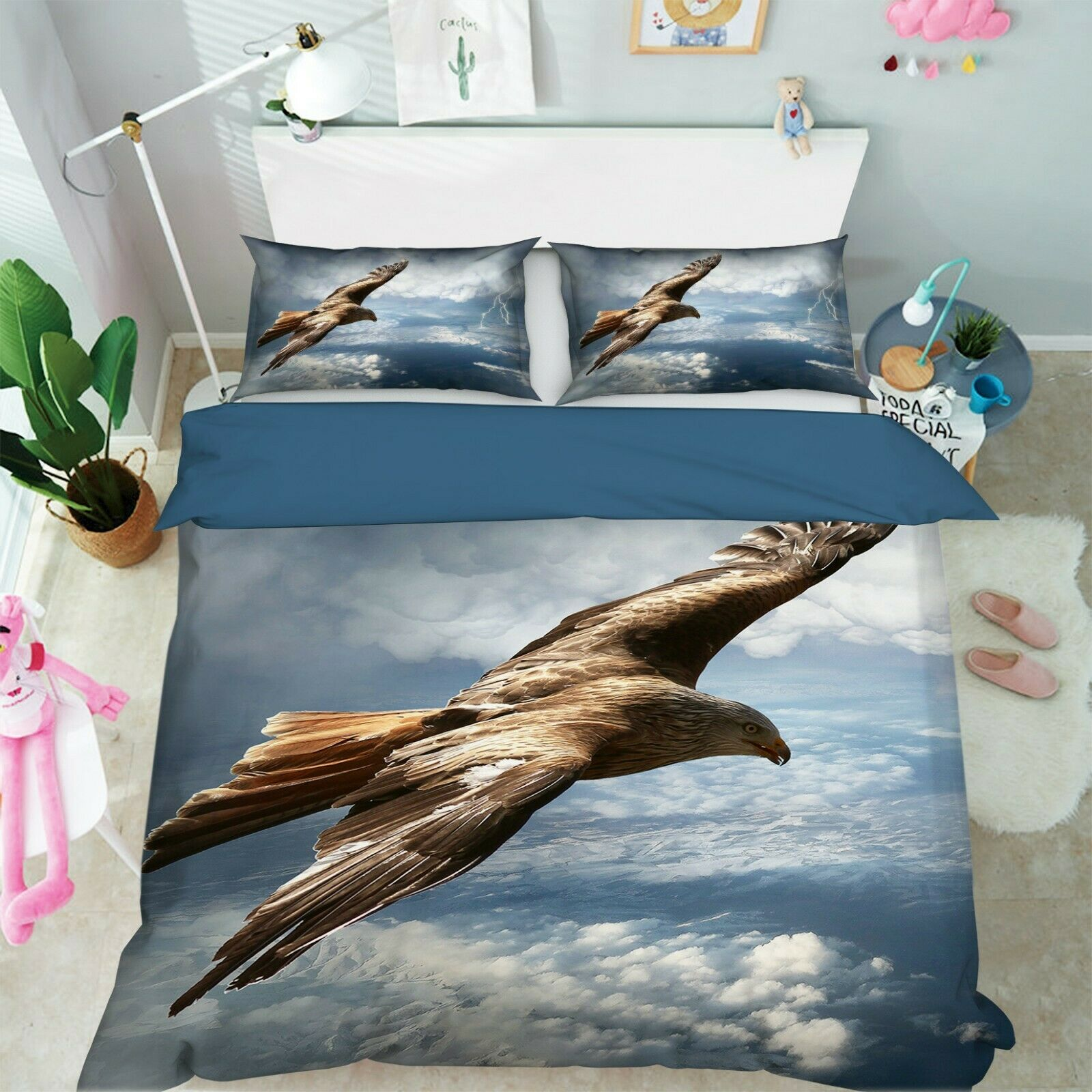 3D Eagle Flying Sky I24 Animal Bett Pillowcases Quilt Duvet Startseite Königin König An