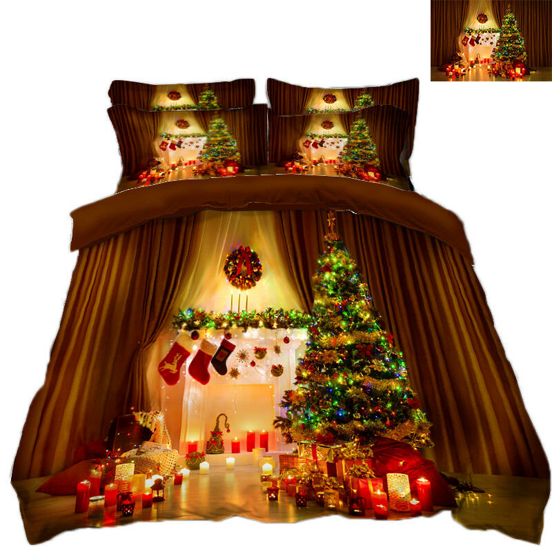 3D Christmas Xmas Gift 5442 Bed Pillowcases Quilt Duvet Cover Set Single KingUK