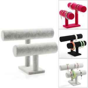Velvet-T-Bar-Jewelry-Rack-Bracelet-Necklace-Stand-Organizer-Holder-Display