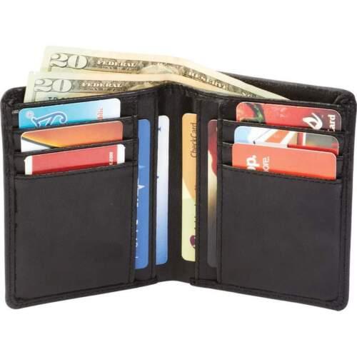 Mens Solid Black BIFOLD WALLET lambskin Leather Credit Card Holder LULWAL10