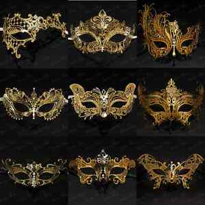 Image is loading Elegant-Gold-Collection-Venetian-Masquerade-Mask-with- Sparkling-