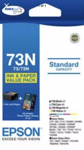 1x Genuine Epson 73N 4-ink Value Pack for Epson Stylus TX100 TX300,TX550,NX220