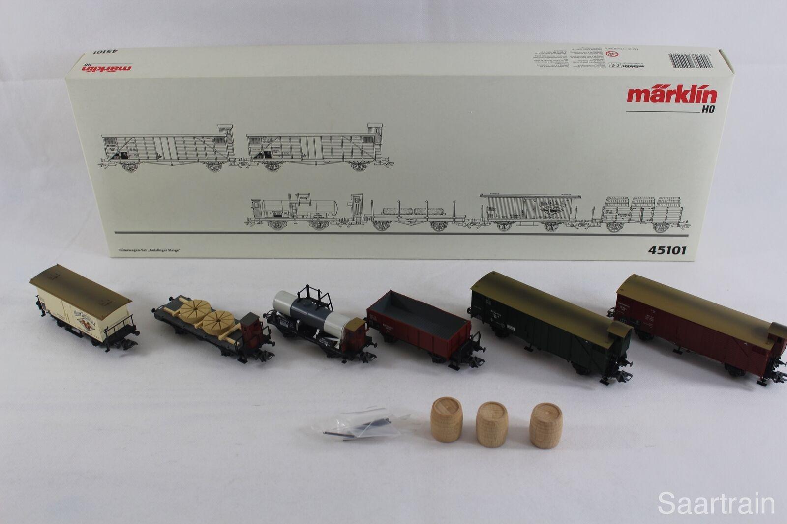 Märklin 45101 Wagenset  Geislinger sali  6 carri merci come nuovo e con imballo originale