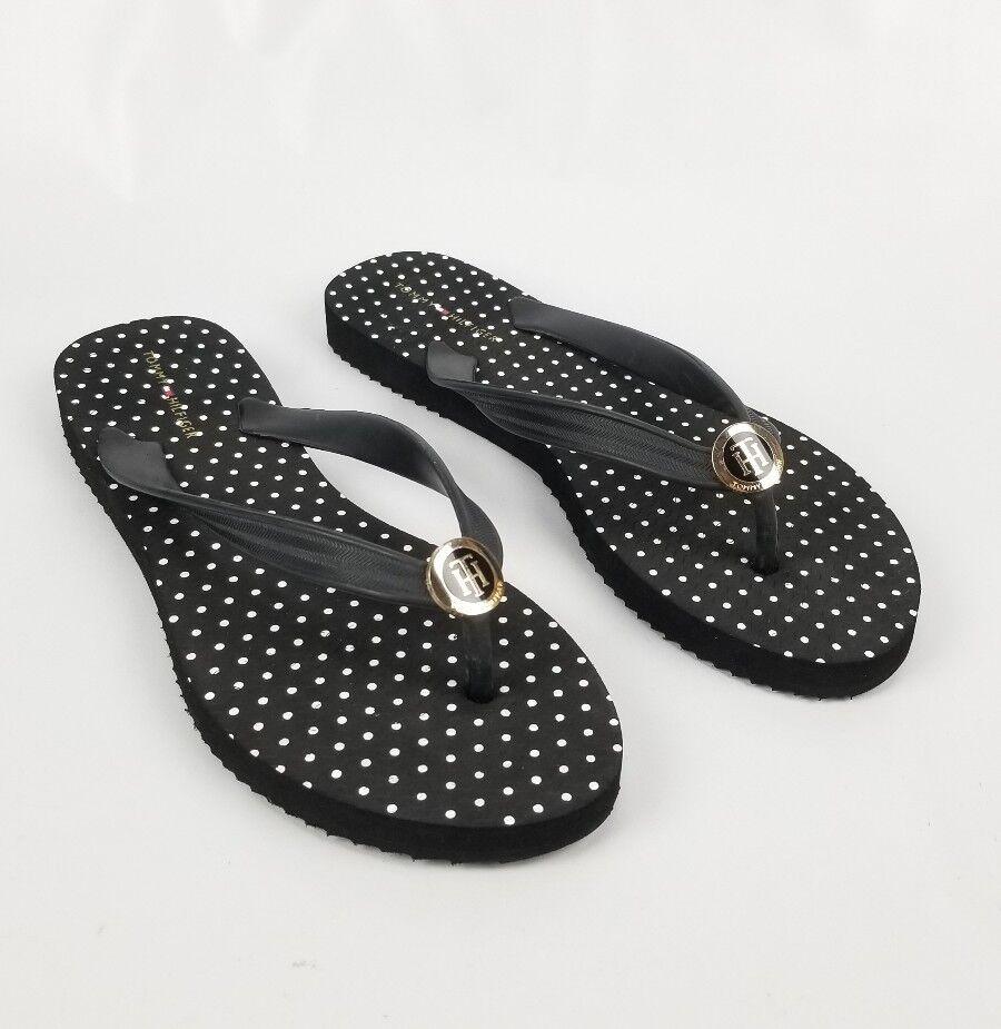 New Tommy Hilfiger Women's Black White Polka Dots Flip Flop Women's Hilfiger 9 Logo 9a82ba