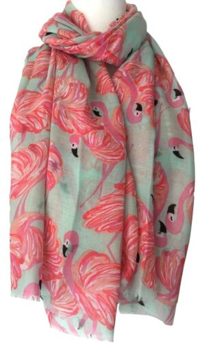 FLAMINGO Sciarpa Fenicotteri Rosa Menta Verde Wrap Donna Bird Scialle IDEA REGALO Birds