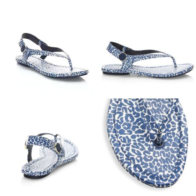 9f41d20c06bc NEW Tory Burch MINNIE Travel Thong Sandal Tory Navy Clouded Leopard 9.5 M