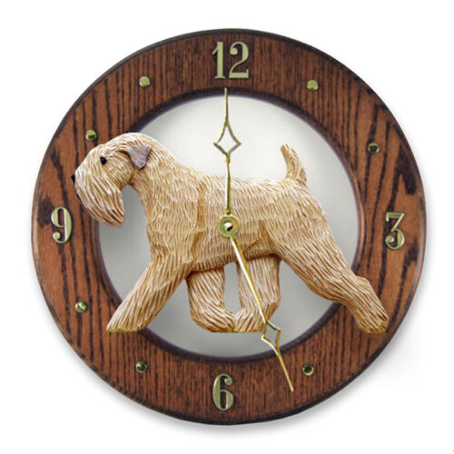 Soft Coated Wheaten Wood Wall Clock Plaque