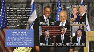 Tuvalu-2017-MNH-Shimon-Peres-6v-M-S-Barack-Obama-Netanyahu-Clinton-Stamps