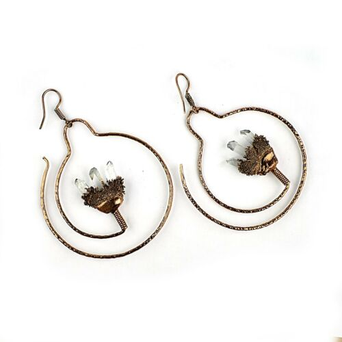 Natural Raw Crystal Gemstone Bohemian New Woman Vintage Fashion Hanging Earring