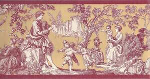 Wallpaper-Border-Designer-Red-and-Gold-Country-Life-Toile