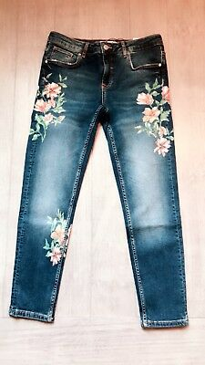 ZARA Women's Mid-rise Jeans with floral print(Blue, US 8, 10/EUR 40, 42)