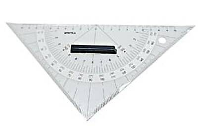 Navigation Triangular Protractor Acrylic 250mm Hypotenuse Nautical Squares