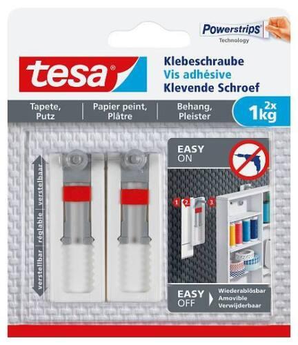 1kg tesa® 77775 Verstellbare Klebeschraube für Tapeten und Putz