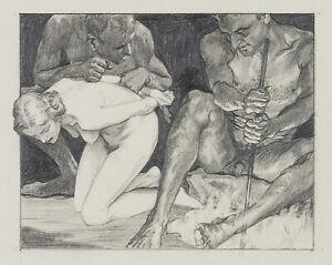 Carl-WALTHER-1880-1956-Zwei-Faune-mit-weiblichem-Akt-Bleistift-und-Kohle