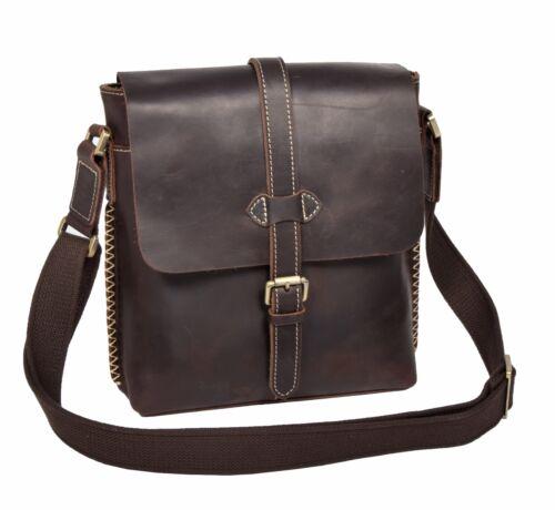 Mens Genuine LEATHER Crossbody Bag Vintage BROWN Casual Messenger Flight Bag NEW
