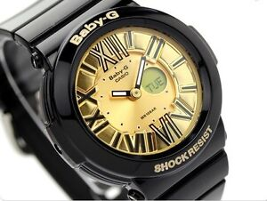 Casio-Baby-G-BGA160-1B-Neon-Illuminator-Gold-Dial-Black-Resin-COD-PayPal