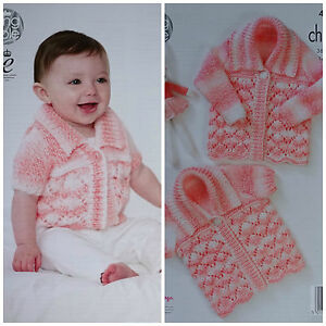 0b87e1739af8 Baby KNITTING PATTERN Babies Lacy Cardigan   Matinee Coat Chunky ...