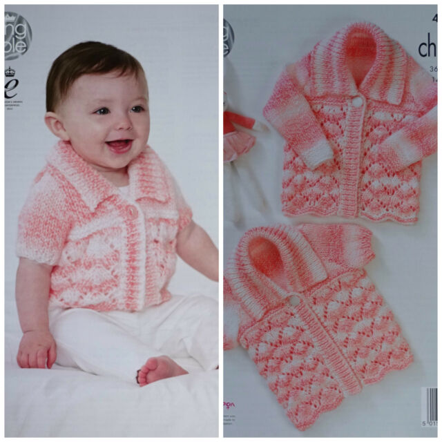 Baby Knitting Pattern Babies Short Sleeve Lacy Cardigan Chunky King
