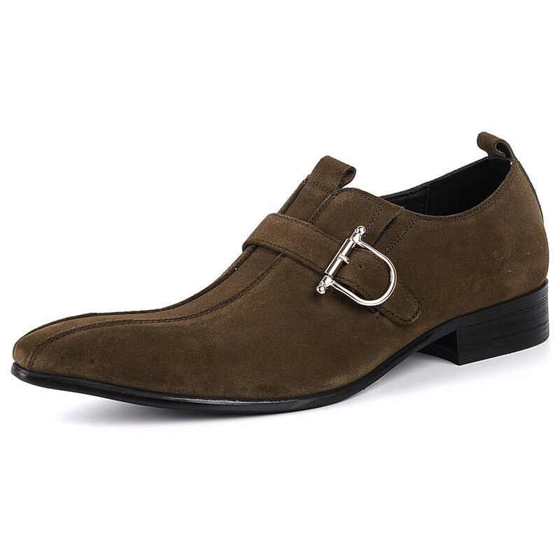 New Genuine Leather Men's Dress Formal Shoes Suede Leather H8726 Loafers Slip On H8726 Leather 76b635