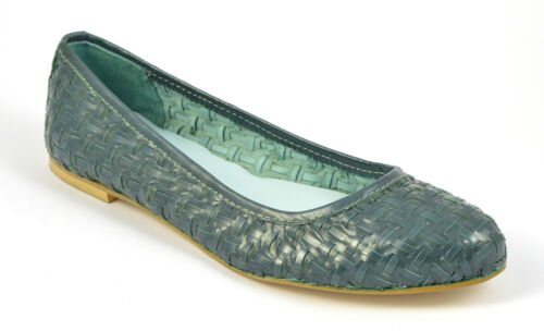 Womens Ladies Green Woven Leather Pumps Shoe Ballerina Loafers Dolly Toe Heel