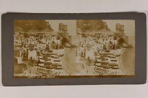 Italia-Golfo-Da-Napoli-Foto-Stereo-Vintage-Citrato-c1900