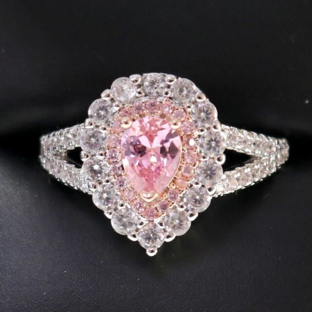 3.5 Ct Pear Pink Sapphire Ring Women Jewelry 14K White Gold Plated Free Shipping