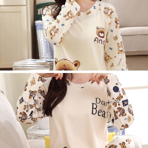 Women/'s Cute Bear Print Pajamas PJS Long Sleeve Tops+Pants Set Home Sleepwear