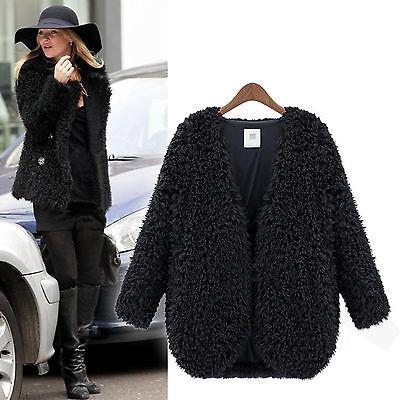 Womens Fluffy Faux Fur Coat Jacket Winter Warm Long Sleeve Cardigan Outwear Tops